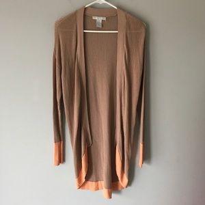 Design History colorblock cardigan tan orange